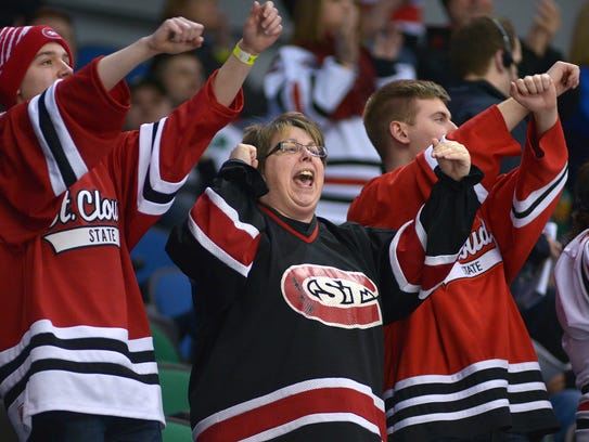 St. Cloud State supporters celebrate the Huskies' goal