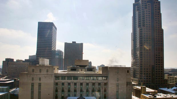 """A view of downtown Des Moines with the Ruan Building on the left and 801 Grand on the right. Photo taken from the rooftop of the Principal """"Z"""" building."""