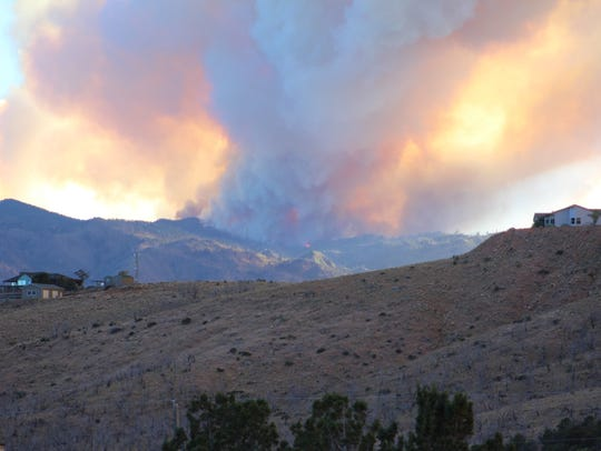 The West Valley Fire burns on Pine Valley Mountain