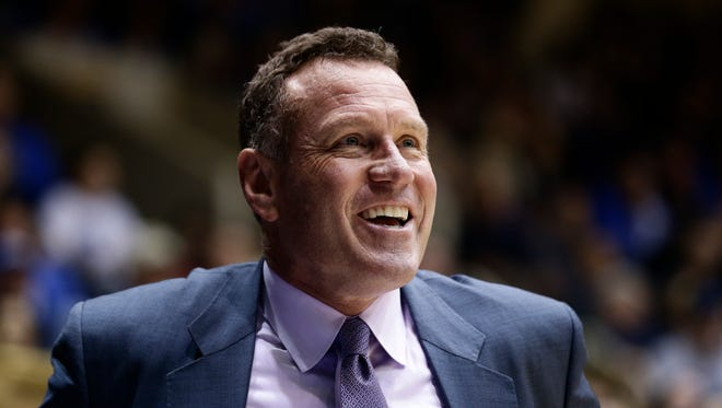 Grand Canyon coach Dan Majerle reacts during the first half of an NCAA college basketball game against Duke in Durham, N.C., Saturday, Nov. 12, 2016.