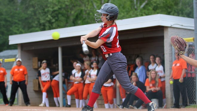Piketon's Avery Reuter swings at a pitch against Wheelersburg Wednesday in a Division III regional semifinal in Lancaster.