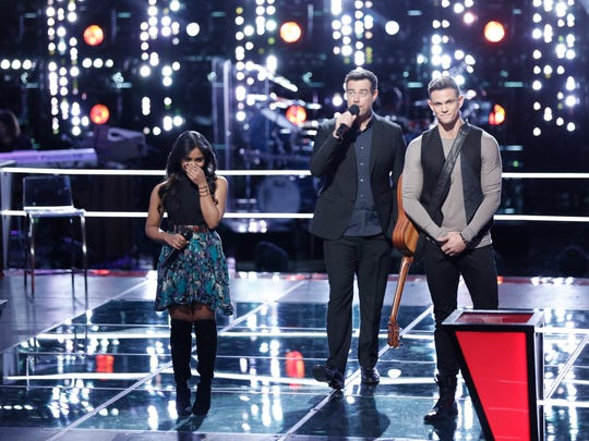 "With Carson Daly, Moushumi was named the winner of her Knockout Round against Nick Hagelin of Atlanta, Georgia on ""The Voice."""