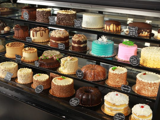 A selection of cakes from the Puffy Muffin pastry case