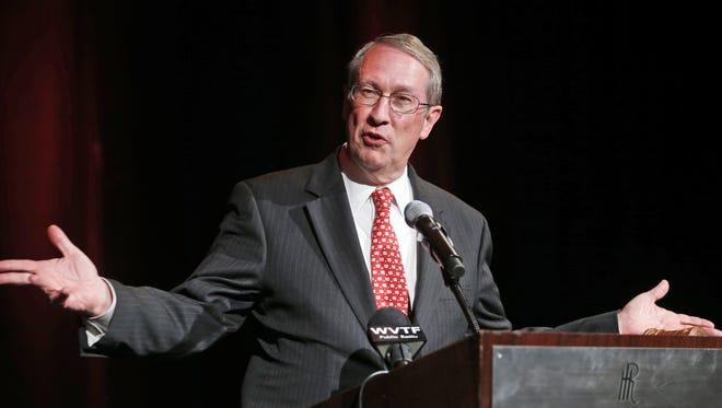 Rep. Bob Goodlatte gestures as he speaks during a gala prior start of the Virginia GOP Convention in Roanoke on June 6.