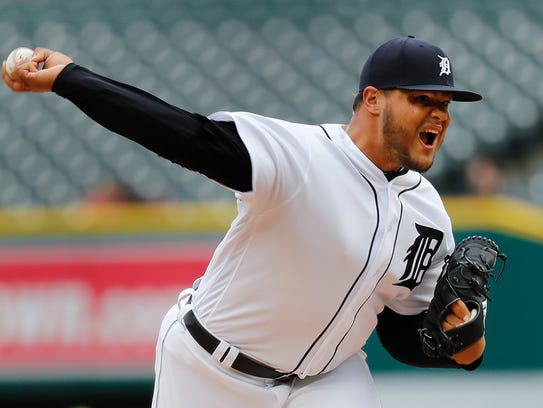 Detroit Tigers relief pitcher Joe Jimenez throws against