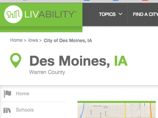 Livability.com ranks Des Moines in its Top 100 Best Place to Live, but they also think Iowa's capital is in Warren County.