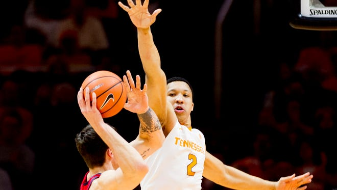 Tennessee's Grant Williams (2) blocks a shot during a game between Tennessee and Ole Miss at Thompson-Boling Arena in Knoxville, Tennessee on Saturday, February 3, 2018.