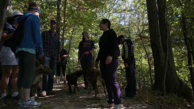 ROCovery Fitness is a local recovery fitness group that includes those who have beaten addiction, some supporting friends and even supportive dogs. Here members run through the trails in Abraham Lincoln Park in Webster during a late September hike.