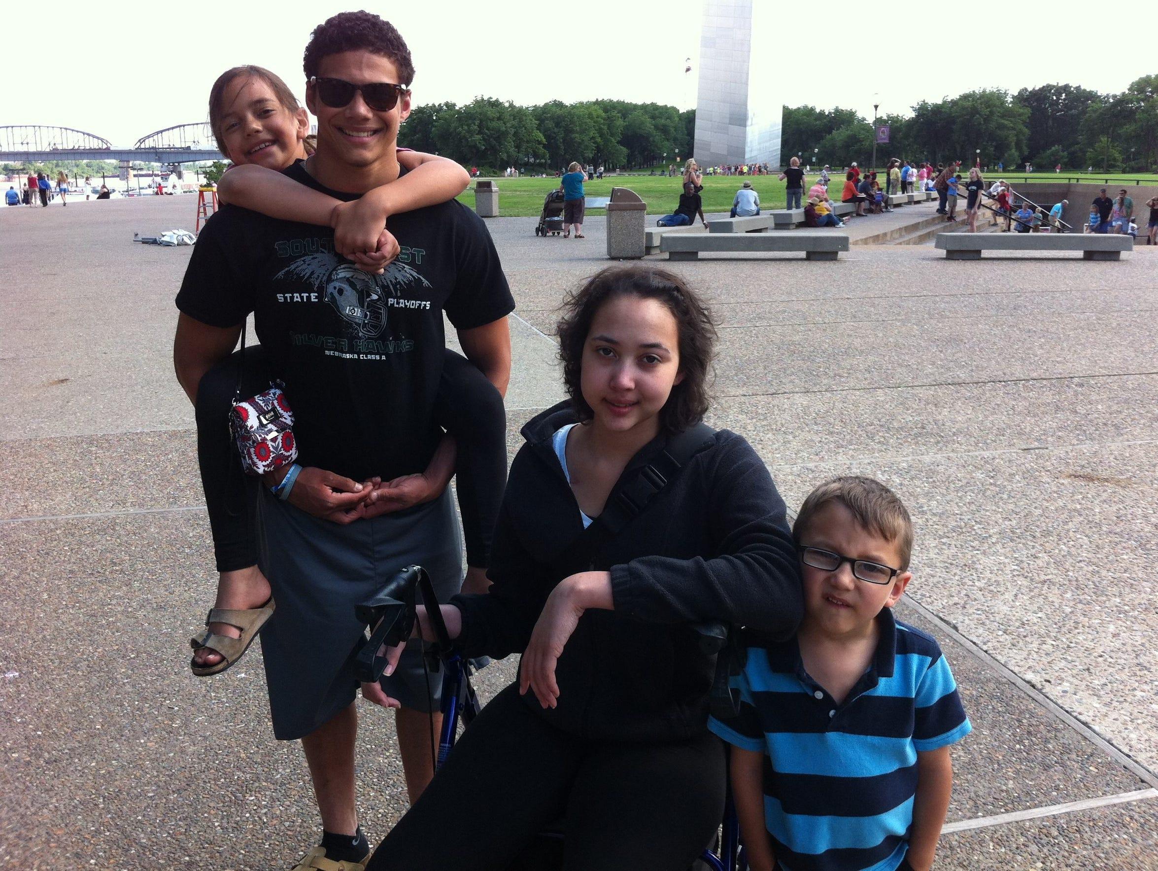 Benjamin Brown and his siblings in St. Louis in spring