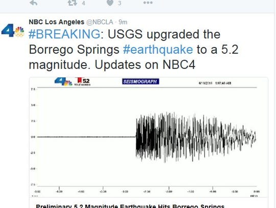 A tweet from Los Angeles television station KNBC shows