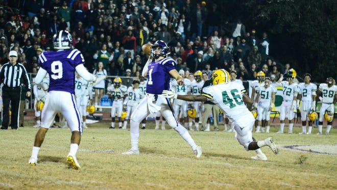 Rayne quarterback Darian Richard (1) hurls a pass as the Wolves take on the Cecilia Bulldogs the Cecilia Bulldogs in the quarterfinal round of the LHSAA Class 4A playoffs Friday Nov. 24, 2017.
