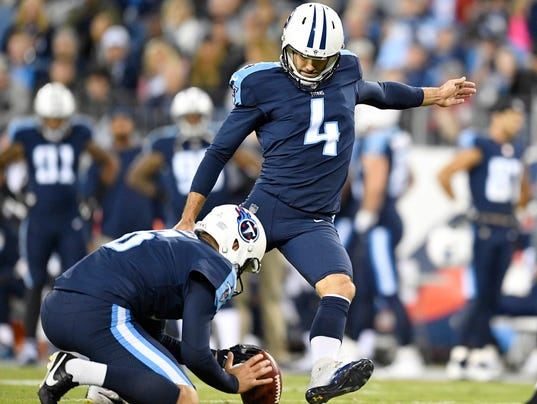 00f5e3961 ... Jersey Titans place kicker Ryan Succop (4) kicks his second field goal  of the night NFL Tennessee ...