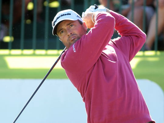 Ryan Palmer, who shot a 61 in round two, starts his third round at the Palmer Private Course at PGA West during the Humana Challenge on Saturday, January 24, 2015 in La Quinta, Calif.