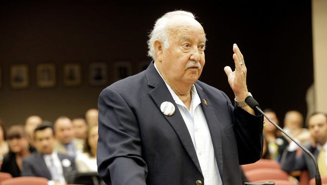 Manuel F. Aguilera spoke on his own behalf in front of Commissioners Court during the public hearing on the proposed renaming of the street to be named is his honor, the Manuel F, Aguilera Highway, for the existing portion between the Tornillo/Guadalupe Port of Entry to Alameda Avenue.