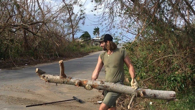 Matt Burr, ex-husband of Grace Potter and founding member and former drummer of their band, Grace Potter and the Nocturnals, clears debris after Hurricane Maria on Puerto Rico. Burr has been living on the island for the last two years.