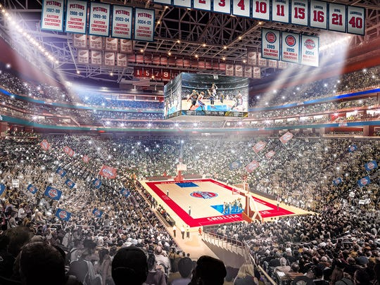 Rendering of the Detroit Pistons playing at Little Caesars Arena alongside Red Wings banners.