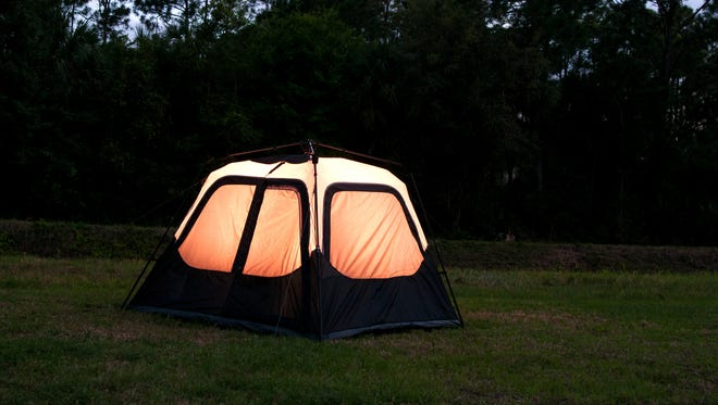 Tent in backyard (stock photo)