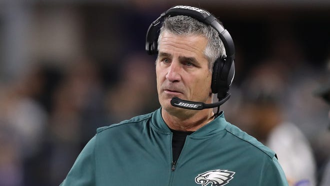 Philadelphia Eagles offensive coordinator Frank Reich on the sidelines during the game against the Dallas Cowboys at AT&T Stadium in Arlington, Texas, Nov 19, 2017.