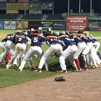 The Roy C. Ketcham baseball team huddles before its Section 1 Class AA final.