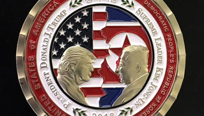 U.S. and North Korea Peace Talks commemorative 'Challenge Coin.' President Trump canceled the June 12 summit in Singapore on Thursday.