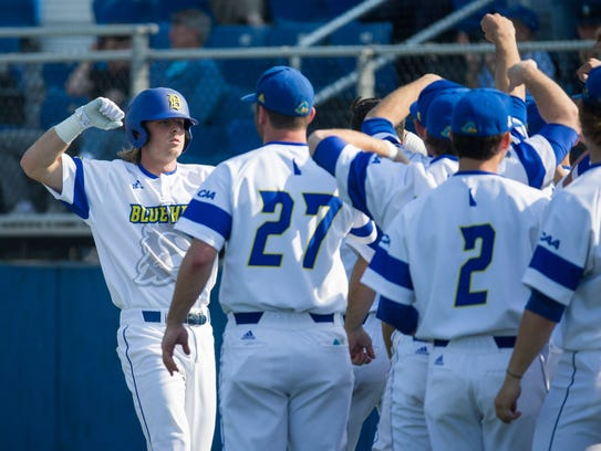 Delaware cleanup hitter Nick Patten celebrates after