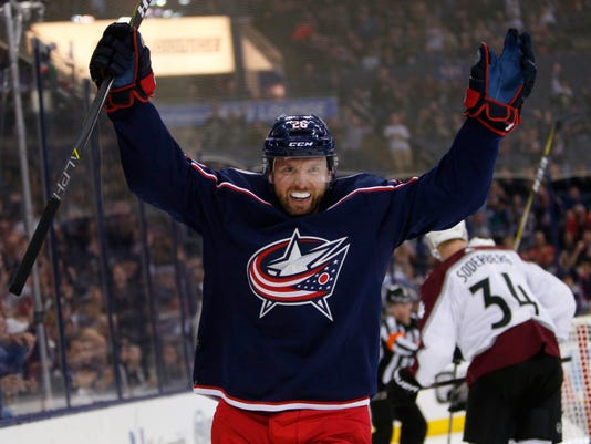 FILE - In this March 8, 2018, file photo, Columbus Blue Jackets' Thomas Vanek, of Austria, celebrates his goal against the Colorado Avalanche during the second period of an NHL hockey game in Columbus, Ohio. Vanek was a trade-deadline addition who's making an impact. (AP Photo/Jay LaPrete, File)