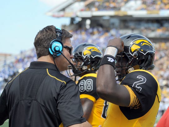 Shannon Dawson, left, has overseen the Southern Miss offense the past two seasons.