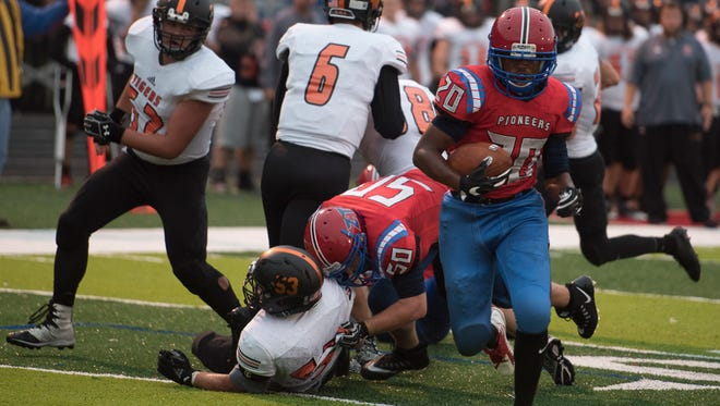 Zane Trace's Etheridge Games scores against Waverly in a Week 2 contest at Zane Trace High School. Games rushed for 188 yards and a touchdown on 18 carries this past Friday in a 47-7 win over McClain.