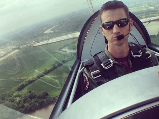 Maj. Jeremy Holt flies before the Barksdale Defenders