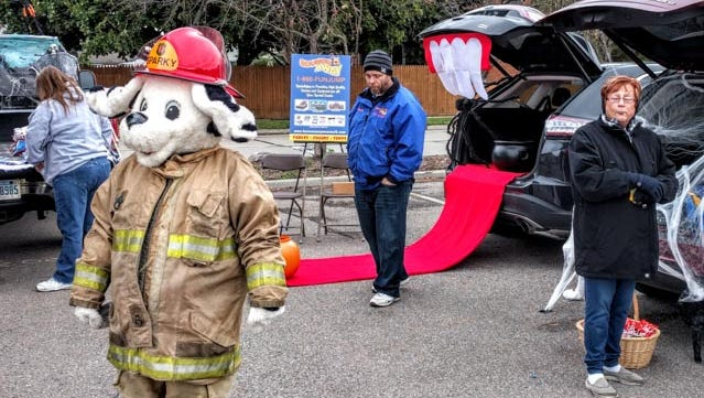 Sparky the Fire Dog couldn't help but be a perfect attraction at the Garden City Trunk or Treat.