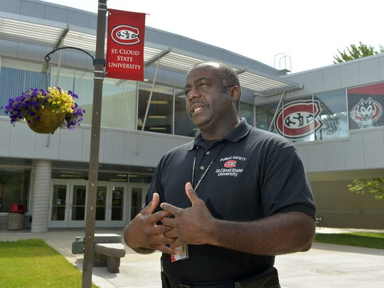 St. Cloud State University Public Safety Director Kevin Whitlock talks in July outside Atwood Memorial Center on the campus.