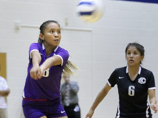 Kirtland Central's Avery Begay returns the ball during a game against Piedra Vista on Tuesday at the Jerry A. Conner Fieldhouse.
