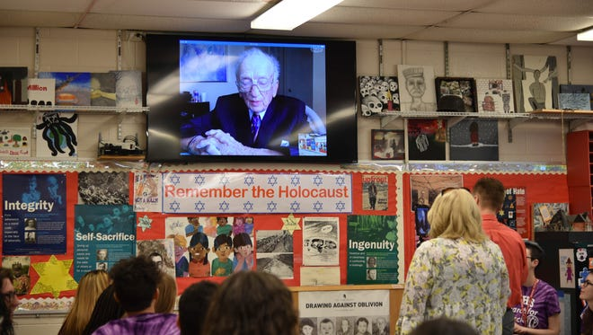 Ben Ferencz, the last living prosecutor from the Nuremberg trials, shares his experiences with students in Terry Kuhnreich's Search for Conscience class at Vineland High School via Skype.