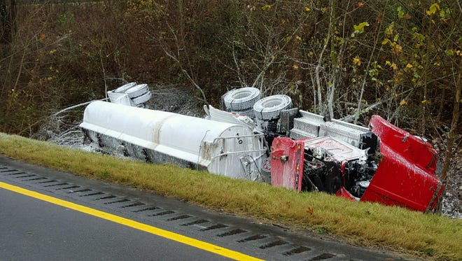 The 18-wheeler fuel truck on Wednesday after it wreck in the middle of eastbound and westbound lanes Wednesday morning.