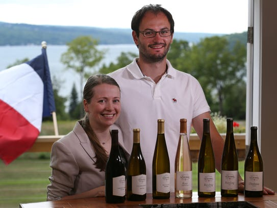 Celine and Sebastien LeSeurre at their winery Domaine