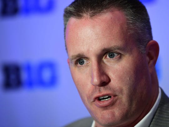 Northwestern head coach Pat Fitzgerald, here at Big Ten media days earlier this week, is baffled by the NCAA's decision to start fall camp earlier and eliminate two-a-days that barely existed anyway.
