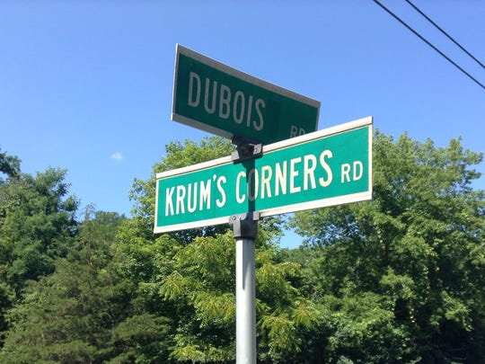 The marker is at the corner of Krum's Corners and DuBois roads in the Town of Ulysses.