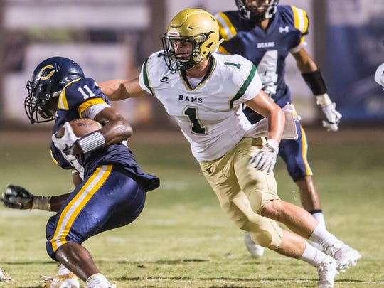 Acadiana High linebacker Connor Breaux (1) has helped the early-season progress of the Wreckin' Rams defensive in a 5-0 start.
