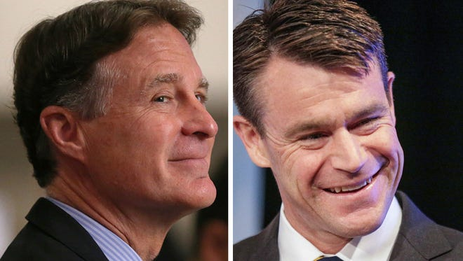 Democrat Evan Bayh (left) and Republican Todd Young