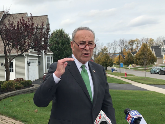 U.S. Sen. Charles Schumer visits Canandaigua on Oct. 23, 2017, to rally against the elimination of the SALT deduction.