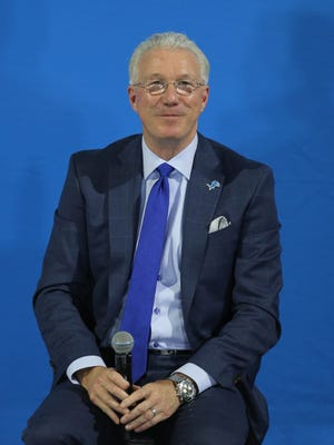 Detroit Lions team president Rod Wood talks to fans before the new uniforms were unveiled at Ford Field on Thursday, April 13, 2017.