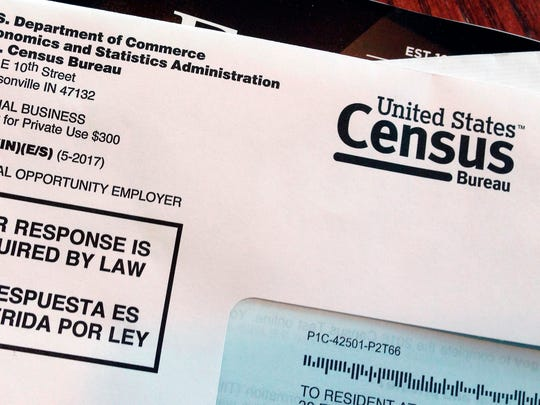 File photo shows an envelope containing a 2018 census letter mailed to a U.S. resident as part of a test run of the 2020 Census.