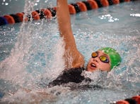 Annville-Cleona's Julianne Strickler swims the backstroke during the Northern York vs. Palmyra swim meet at Palmyra Jan. 19, 2017. Strickler is one of several Lebanon County independent swimmers who swim in meets at Palmyra.