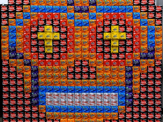 A wall of Coca-Cola products is stacked to resemble a Day of the Dead sugar skull Friday, Oct. 13, 2017, at the Abilene Convention Center. Business Mercado will be 9 a.m. to 3 p.m. Saturday.