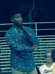 Winston address the crowd at Hueytown's Gilmore-Vines Stadium.
