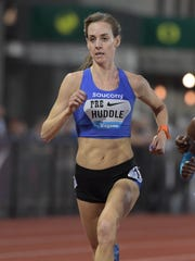 Molly Huddle runs to eighth place in the women's 5,000 in May of 2017 at the Prefontaine Classic at Hayward Field in Eugene, Oregon.