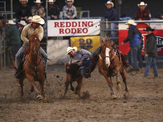 Steer wrestler Clayton Morrison of Heppner, Oregon, competes in the 2016 Redding Rodeo.