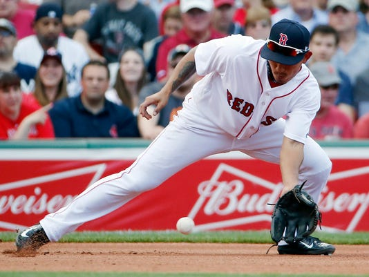 Boston Red Sox's Tzu-Wei Lin fields a ground ball by New York Yankees' Chase Headley during the fourth inning of a baseball game in Boston, Saturday, July 15, 2017. AP Photo/Michael Dwyer)