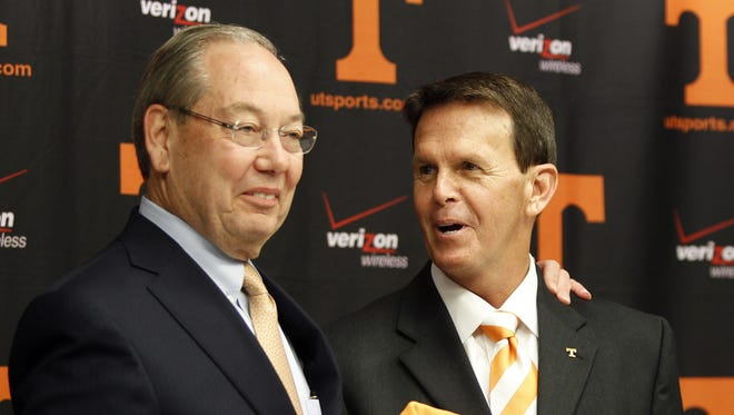 University of Tennessee Chancellor Jimmy Cheek, left, and Athletics Director Dave Hart