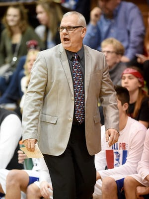 Coach Mark Detweiler leads Union County Friday, March 3, 2017 in the Class 2A sectional basketball tournament semifinal at Hagerstown.